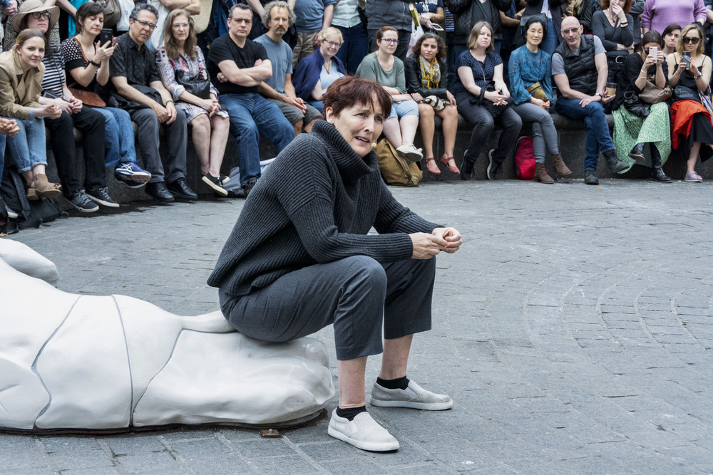Fiona Shaw performs an excerpt from TS Eliot's The Waste Land in Madison Square Park, New York. Photo Howard Sherman