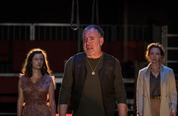 Zara Devlin, Brian Doherty and Aislin McGuckin in Hecuba at Project Arts Centre, Dublin. Photo: Ste Murray