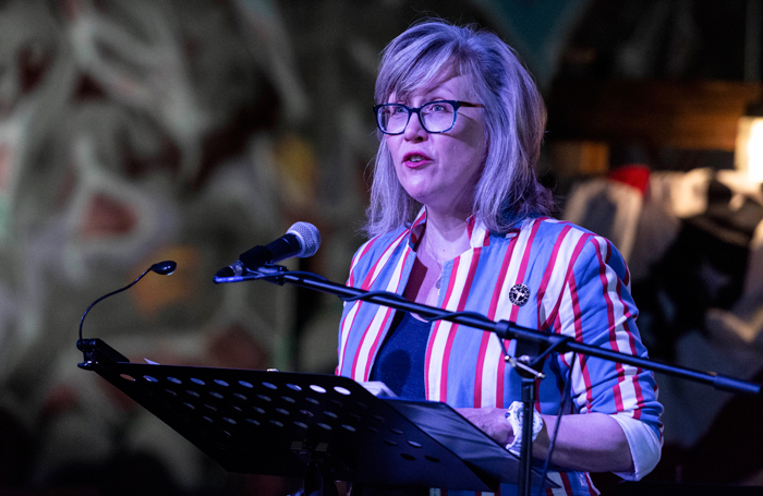 WP Theater's Lisa McNulty reading from the Mueller Report at Filibustered and Unfiltered. Photo: Howard Sherman