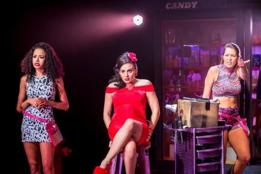 Jade Ewen (Vanessa), Victoria Hamilton-Barritt (Daniela) and Sarah Naudi (Carla) in In The Heights. Photo Credit Johan Persson