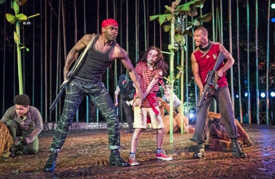 ROkorie Chukwu (Red Bandana), Ava Potter (Lilly) and Ira Mandela Siobhan (Hunter) in Running Wild by Michael Morpurgo @ Open air Theatre, Regent's Park. Directed by Timothy Sheader and Dale Rooks. (Opening-19-05-16) ©Tristram Kenton 05/16 (3 Raveley Street, LONDON NW5 2HX TEL 0207 267 5550  Mob 0797