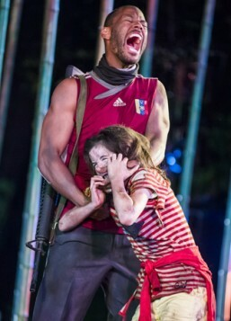 Ira Mandela Siobhan (Hunter) and Ava Potter (Lilly) in Running Wild by Michael Morpurgo @ Open air Theatre, Regent's Park. Directed by Timothy Sheader and Dale Rooks. (Opening-19-05-16) ©Tristram Kenton 05/16 (3 Raveley Street, LONDON NW5 2HX TEL 0207 267 5550  Mob 07973 617 355)email: tristram@tris