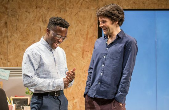 Bayo-Gbadamosi-and-Colin-Morgan-in-Gloria-at-Hampstead-Theatre,-photo-by-Marc-Brenner