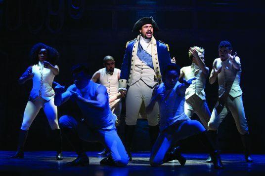 centre Obioma Ugoala (George Washington) with West End cast of Hamilton - Photo credit Matthew Murphy