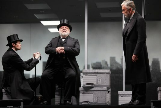 Adam Godley, Simon Russell Beale and Ben Miles in The Lehman Trilogy at the National Theatre