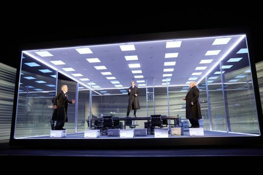 Ben Miles, Adam  Godley  and Simon Russell Beale inThe Lehman Trilogy at the National Theatre