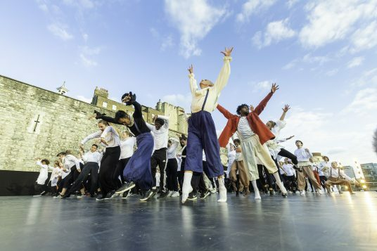 East Wall at the Tower of London Image Richard Leahair, finale choreographed by Hofesh Shechter