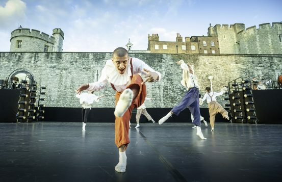 East Wall at the Tower of London Image Richard Leahair piece choreographer by Hofesh Shechter featuring Shechter II dancer Robinson Cassarino