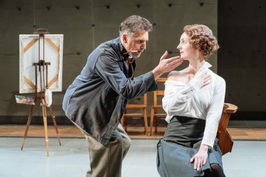 Edward MacLiam (Teddy Lloyd) and Helena Wilson (Jenny) in The Prime of Miss Jean Brodie, Donmar Warehouse, directed by Polly Findlay, designed by Lizzie Clachan. Photo Manuel Harlan