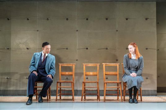 Kit Young (Journalist) and Rona Morison (Sandy) in The Prime of Miss Jean Brodie, Donmar Warehouse, director Polly Findlay, designer Lizzie Clachan. Photo Manuel Harlan