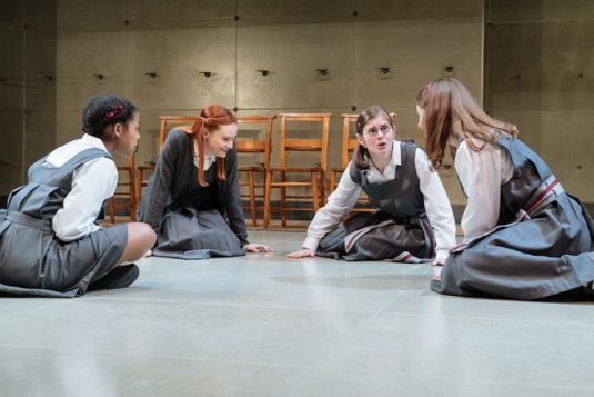 L-R Grace Saif (Monica), Rona Morison (Sandy), Emma Hindle (Mary) and Helena Wilson (Jenny) in The Prime of Miss Jean Brodie at the Donmar Warehouse. Photo Manuel Harlan
