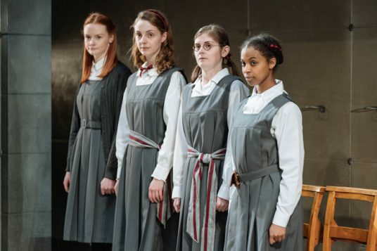 L-R Rona Morison (Sandy), Helena Wilson (Jenny), Emma Hindle (Mary) and Grace Saif (Monica) in The Prime of Miss Jean Brodie at the Donmar Warehouse. Photo Manuel Harlan (2)