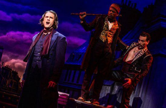 Aaron Tveit as Christian, Sahr Ngaujah as Toulouse-Lautrec and Ricky Rojas as Santiago. Photo: Matthew Murphy