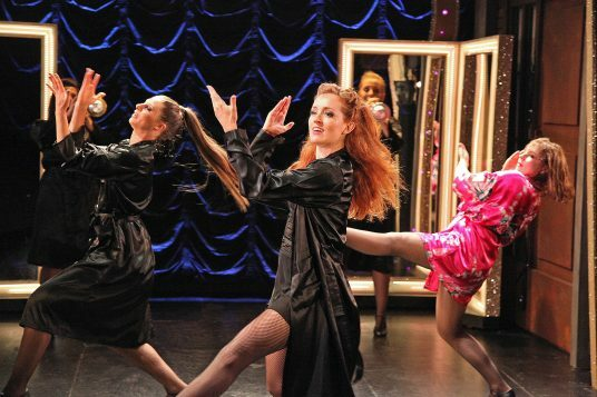 Sweet Charity at The Watermill. LtR Emma Jane Morton, Vivien Carter and Gemma Sutton. Photo by Philip Tull 166