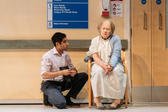 l-r Sacha Dhawan (Dr Valentine) and Julia Foster (Mary) - Photo credit Manuel Harlan