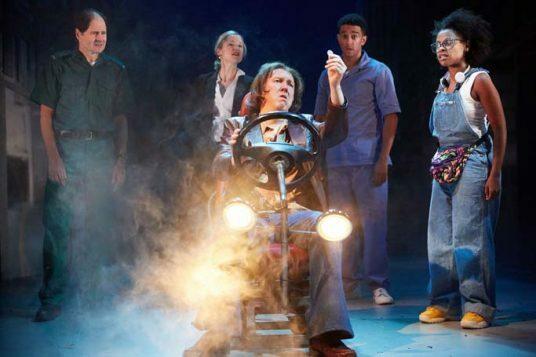 Ayesha Antoine, Philip Bird, Naomi Frederick, Richard Lumsden, Karl Queensborough. White Teeth at Kiln Theatre. Photo by Mark Douet C31B0890