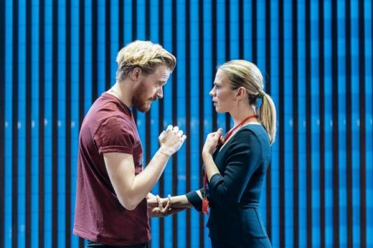 Jack Lowden (Angelo) and Hayley Atwell (Isabella) in Measure for Measure at the Donmar Warehouse directed by Josie Rourke, designed by Peter McKintosh. Photo Manuel Harlan-209
