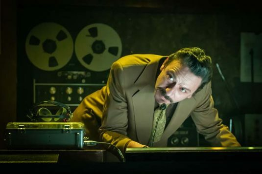 Enzo Cilenti (Franceso) in Berberian Sound Studio at the Donmar, directed by Tom Scutt, designed by Tom Scutt and Anna Yates. Photo Marc Brenner-322