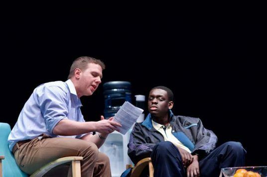 Thomas Coombes (Bruce) and Ivan Oyik (Christopher). Photo Myah Jeffers