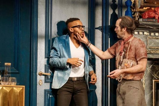 Enyi Okoronkwo, Denis O'Hare in Tartuffe by Molière in a new version by John Donnelly. Image by Manuel Harlan