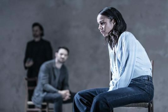 Tom Hiddleston (Robert), Charlie Cox (Jerry) and Zawe Ashton (Emma) in 'Betrayal' directed by Jamie Lloyd. Photo credit Marc Brenner