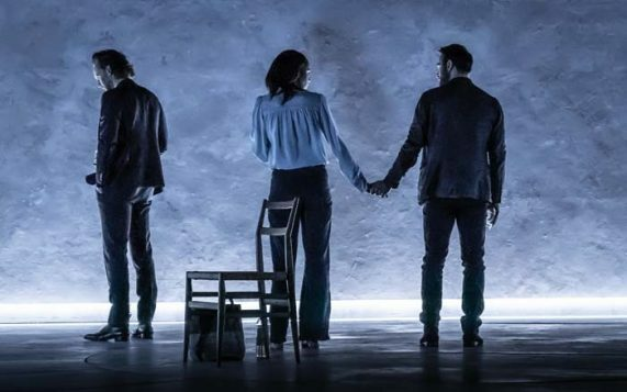 Tom Hiddleston (Robert), Zawe Ashton (Emma) and Charlie Cox (Jerry) in 'Betrayal' directed by Jamie Lloyd. Photo credit Marc Brenner