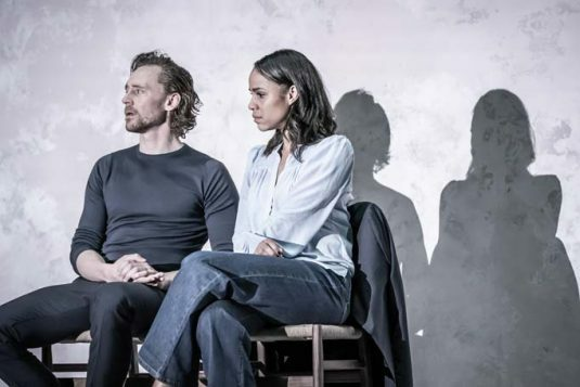 Tom Hiddleston (Robert) and Zawe Ashton (Emma) in 'Betrayal' directed by Jamie Lloyd. Photo credit Marc Brenner
