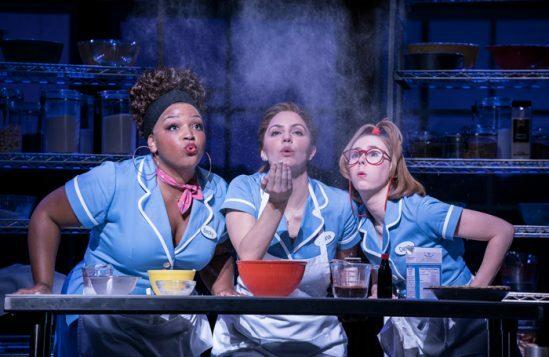 Waitress-Adelphi-Theatre-Marisha-Wallace-Becky-Katharine-McPhee-Jenna-and-Laura-Baldwin-Dawn-Photographer-Johan-Persson