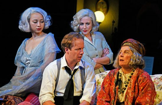 Emma-Naomi-Geoffrey-Streatfeild-Lisa-Dillon-and-Jennifer-Saunders-in-Blithe-Spirit-at-Theatre-Royal-Bath