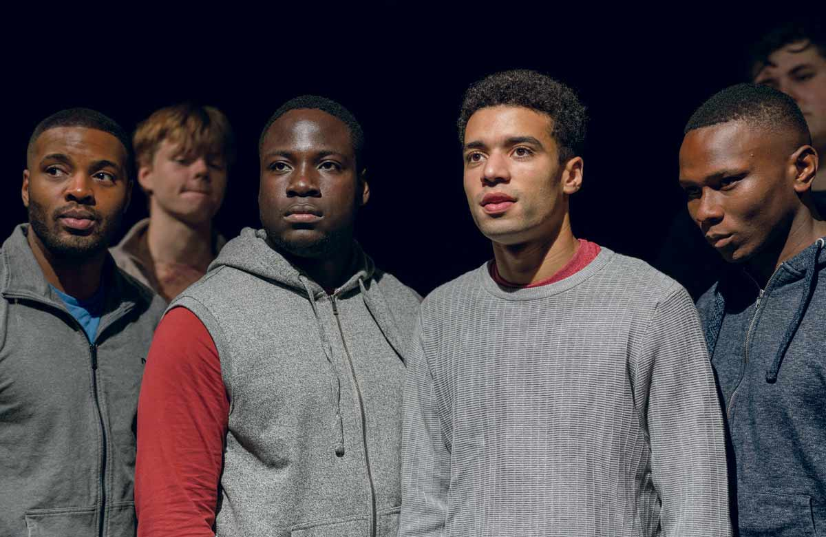 Tej Obano, Pierre Moullier, Rushand Chambers, Raphael Gwilliams-Akuwudike, Ayomide Adegun and Jake Mills in The Jumper Factory at the Young Vic. Photo: Leon Puplett