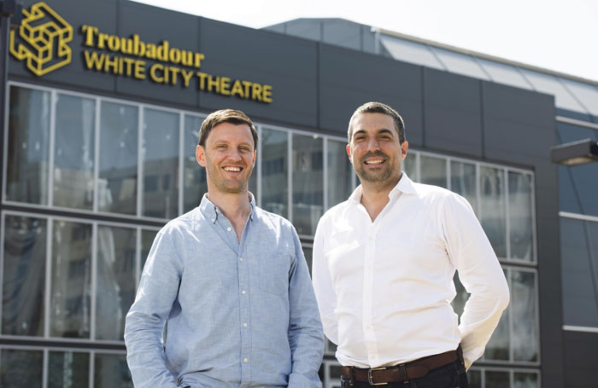 Oliver Royds, left, and Tristan Baker at the Troubadour White City Theatre, one of two new pop-up ve