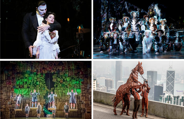 Clockwise from top left: world tours of The Phantom of the Opera (photo: Cereaal Studio), Cats (photo: Alessandro Pinna), War Horse and Matilda