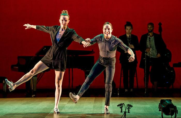 Michelle Dorrance and Ephrat Asherie in Dorrance Dance's Myelination at Sadler's Wells, London. Photo: Tristram Kenton