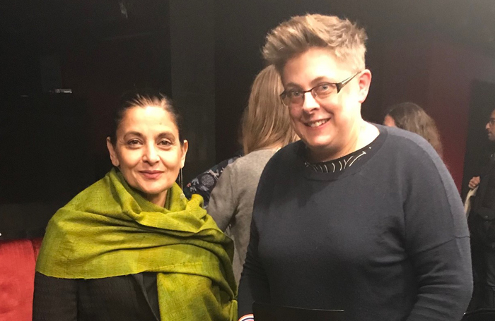 Tamasha Theatre co-founder Sudha Bhuchar and winner Suzanne Bell