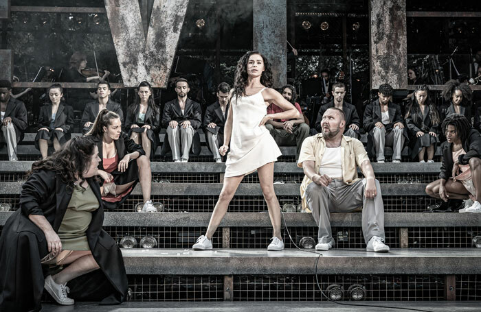 Samantha Pauly and company in Evita at Regent's Park Open Air Theatre, London. Photo: Marc Brenner
