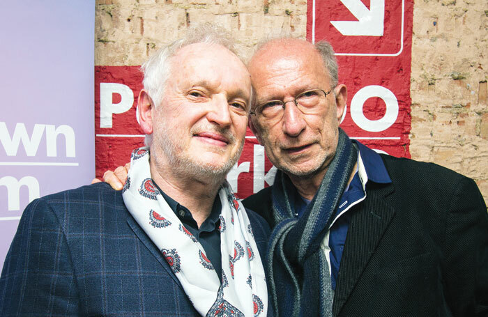 Sean Mathias, left, with playwright Martin Sherman at the Park Theatre, London earlier this year. Mathias directed Sherman's play Gently Down the Stream at the venue. Photo: Adam Bennett