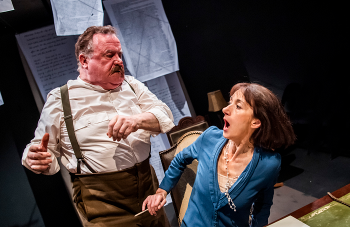 Ian Redford and Olivia Olsen in Stray Dogs at Park Theatre, London. Photo: Tristram Kenton