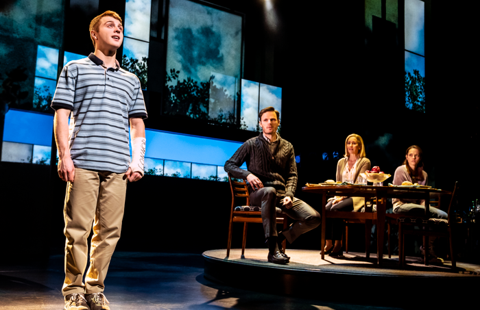 Sam Tutty and the cast of Dear Evan Hansen at Noel Coward Theatre, London. Photo: Matthew Murphy