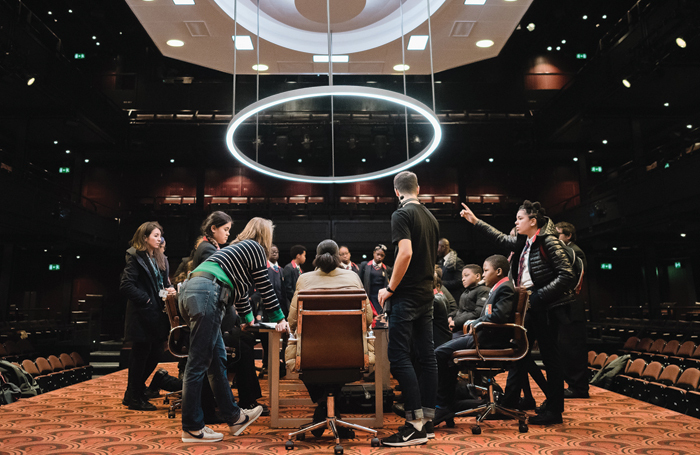 Students explore The Antipodes set at National Theatre's Creative Careers Day. Photo: Emma Hare