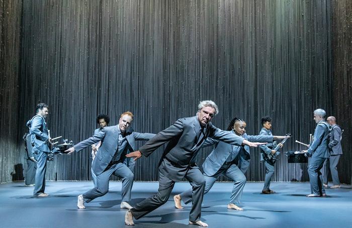 The cast of American Utopia at Broadway's Hudson Theatre. Photo: Matthew Murphy