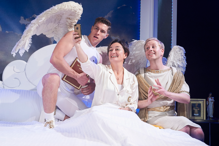 Tom Bowen, Zoe Lyons and Matt Tedford in An Act of God. Photo: Geraint Lewis