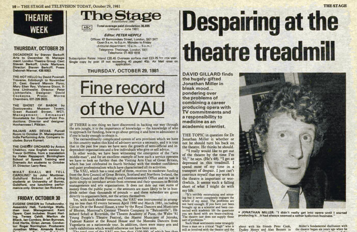 From The Stage issue of October 29, 1981
