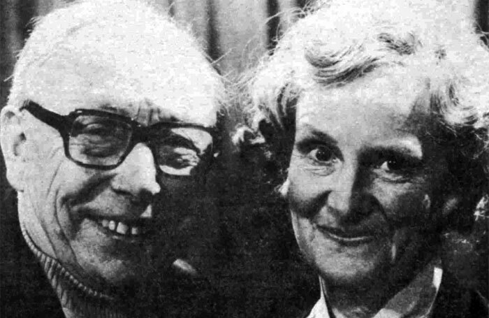 Jean Heywood, right, with Leslie Dwyer in Granada TV's Leave It to Charlie in 1978