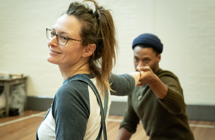 Catherine McCormack and Ira Mandela Siobhan in rehearsals for My Brilliant Friend by Elena Ferrante, one of the few plays written and directed by women to be staged in the National Theatre's Olivier