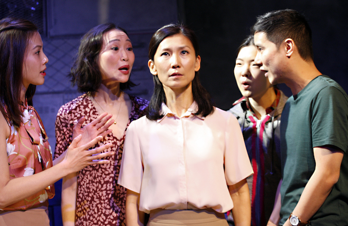 Crystal Yu, Momo Yeung, Chuja Seo, Jessie Baek and Jon Chew in WIld Goose Dreams at the Ustinov Studio. Photo: Simon Annand