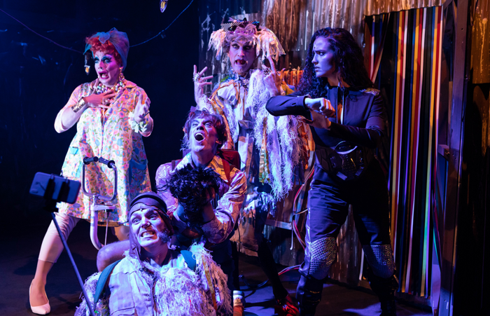 The cast of Escape from Planet Trash at the Pleasance Theatre. Photo: Ali Wright