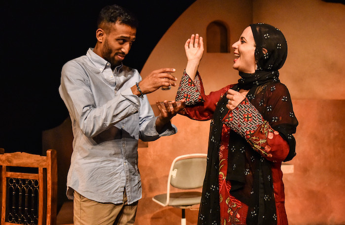Jay Varsani and Suzanne Ahmet in Homing Birds from Kali Theatre. Photo: Robert Day