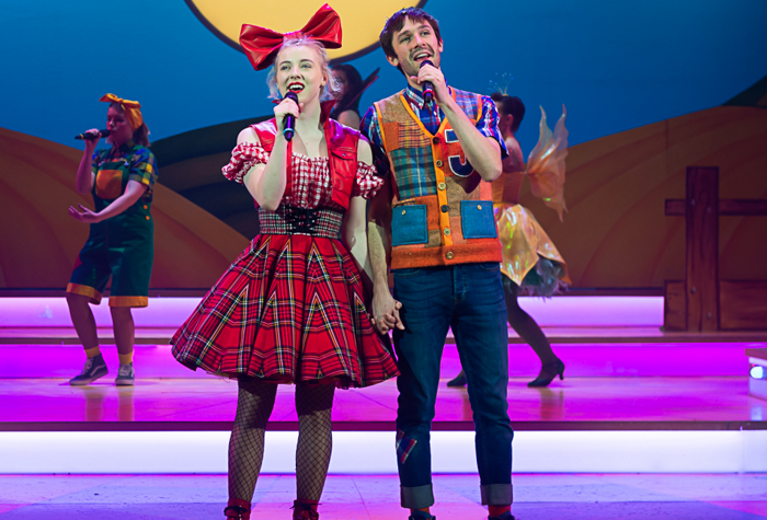 Jessica Jolleys and Peter Mooney in Jack and the Beanstalk the Rock 'n' Roll Pantomime at Theatr Clwyd. Photo: Brian Roberts