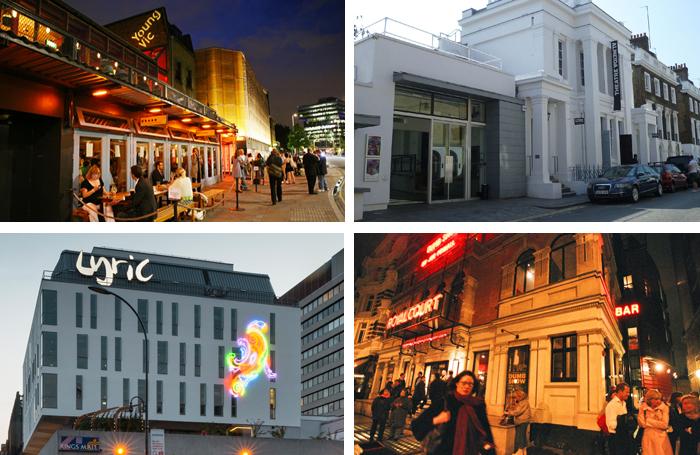 London Theatre Consortium members: Young Vic, Almeida, Lyric Hammersmith and Royal Court. Photos: Wiki/Jim Stephenson