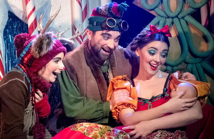 Emily Cairns, Matthew Kellett and Meriel Cunningham in Teh Nativity Panto at the King's Head Theatre, London. Photo: Bill Knight